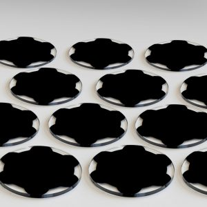 Litho Black coated glass components